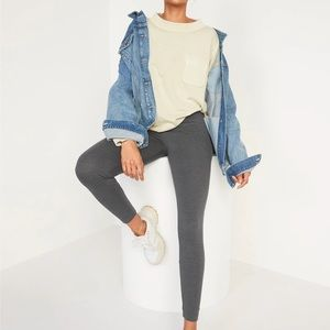 New Old Navy Grey Mid-Rise Jersey-Knit Leggings